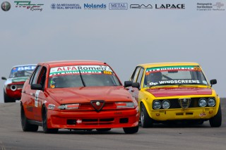 The fight between Jose De Carvalho (Alfa Romeo 155) and Ralph Kernes (Alfetta)