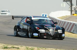 The six-cylinder, 3,7-litre, twin turbocharged Varta batteries Alfa Romeo GT of Franco di Matteo, that will make its debut in Saturday's G&H Extreme Supercar races at Zwartkops.