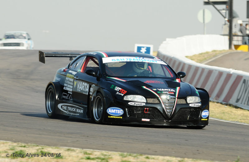 The six-cylinder, 3,7-litre, twin turbocharged Varta batteries Alfa Romeo GT of Franco di Matteo, that will make its debut in Saturday's G&H Extreme Supercar races at Zwartkops