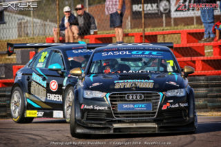 Engen Audi drivers Michael Stephen and Simon Moss dominated Saturday's opening race for Sasol Global Touring Cars.