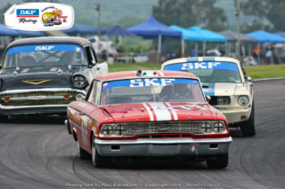 Lee Thompson (Ford Galaxie) should be a victory favourite in the races for SKF Pre-1966 Legend Saloon Cars
