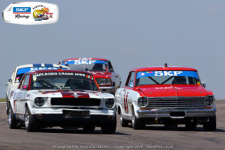 Mustang drivers Ben Morgenrood and Peter Lindenberg diced for the lead in both of Saturday's SKF Pre-1966 Legend Saloon Car races