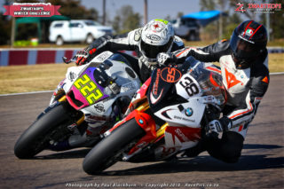 Nicholas Grobler (Adrenalin Powersport Yamaha R1) took the opening Bridgestone Thunderbike race from Lance Isaacs (Supabets BMW S1000RR)