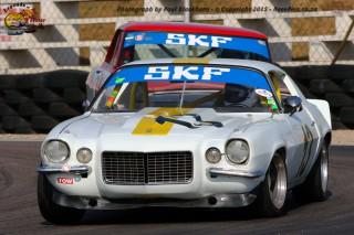 Mark du Toit (Chevrolet Camaro) and Jonathan du Toit (Chev 11 Nova) tussle during the second race for Pre-1966 Legend Production Cars