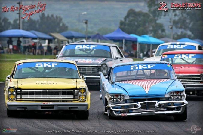 Ferdi van Niekerk Junior (Ford Galaxie) won Saturday's opening race for SKF Legend Saloon Cars at Zwartkops