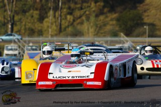 Colin Ellison (Scuderia Ellissoni Chevron B19) and Peter Jenkins (Nucleus Chains Chevron B19) fight during Saturday's first race for Pre-1984 Sports and GT Cars.