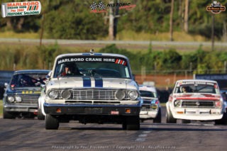 Colin Ellison took his large Ford Fairlane to the first Marlboro Crane Hire Historic Saloon Car race