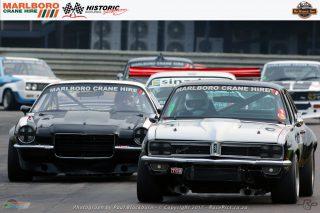 Niel Reynecke (Executive Chev CanAm) and Anton Raath (Executive Chev Camaro) fought for podium places in the Marboro Crane Hire Pre-1980 Saloon Car races