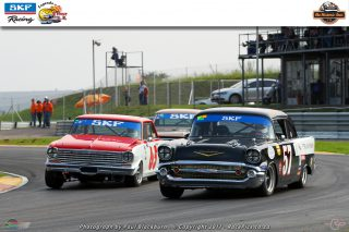 Jonathan du Toit (Chev Nova) and Mark du Toit (Chev Bel Air) fought for victory in Saturday's second race for SKF Pre-1966 Legend Saloon Cars
