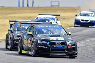 Michael Stephen (Engen Audi) won Saturday's opening race for Sasol Global Touring Cars at Zwartkops - Picture by David Ledbitter