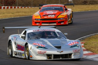 THUNDER. The Corvette of Devin Robertson leads the Big Boss Auto Super Saloon car field at Zwartkops on Saturday
