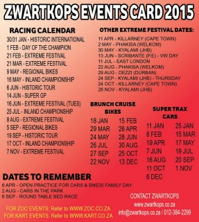 Zwartkops Events Card - 2015