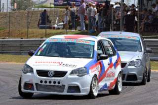 Wayne Crous (Ancro Polo) won the second Car Care Clinic 111 Sport and Saloon Car race from Gerhard Henning (www.allmotorspares.co.za Polo)