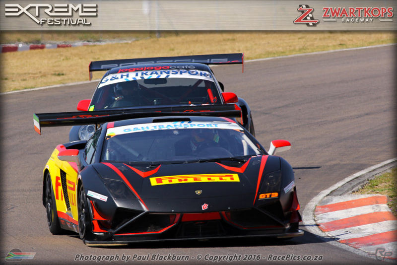Charl Arangies (Pirelli Lamborghini Galardo) and Johan Engelbrecht (JogaJoga Porsche GT2R) fought for victory in both of Saturday's races for G&H Transport Extreme Supercars