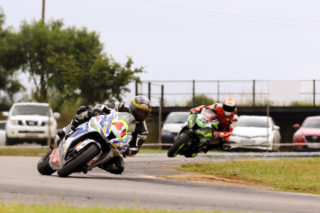 Veteran Graeme van Breda (Stefanutti ZX10) led both of the Red Square Kawasaki Masters races from start to finish
