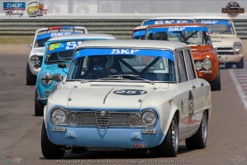 Roger Houston (CTR Alfa Romeo Giulia) could spray champagne after the races for Under Two-Litre SKF Pre-66 Legend Saloon Cars