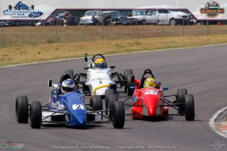 Ian Schofield (Investchem Mygale) won the opening Investchem Formula Ford Kent race from Dean Venter (Turncab Royale) and Andrew Horne (Xena Chemicals Royale), with the cars covered by four-tenths of a second at the finish