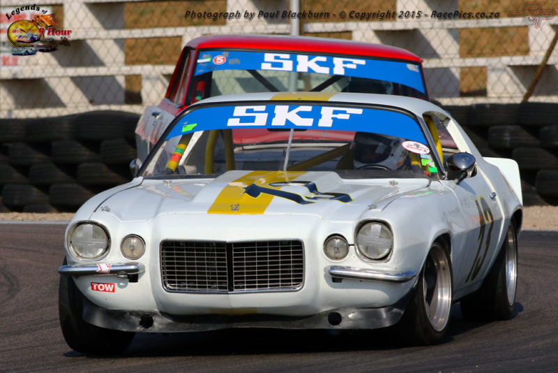 Mark du Toit (Chevrolet Camaro) and Jonathan du Toit (Chev 11 Nova) tussle during the second race for Pre-1966 Legend Production Cars