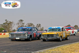Sarel van der Merwe (1964 Ford Galaxie), Jeffrey Kruger (1964 Ford Comet) and Jonathan du Toit (1965 TAR Chev Nova) fought for the lead in Saturday's SKF Pre-1966 Legend Sakloon Car races at Zwartkops