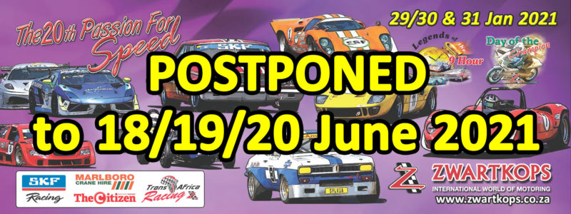 Postponement of Passion for Speed to June 2021