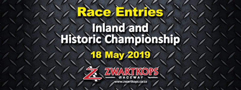 Race Entries for Inland and Historic Championship race meeting on 18 May 2019
